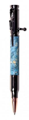 Ручка Патрон из капа клёна (синяя)