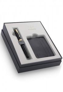 Набор Parker Sonnet Black GT GIFT 20 с футляром для кредитных карт